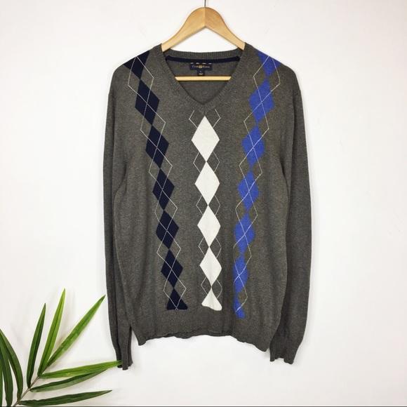 f85460f569c2 Club Room Sweaters | Argyle Sweater Vneck 100 Cotton 0399 | Poshmark
